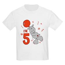 Hippo Balloon 5th Birthday T-Shirt