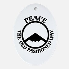 Peace with Stealth Oval Ornament