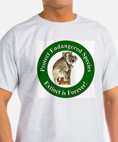 Protect Endangered Species (Front) Ash Grey T-Shir