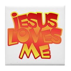 Jesus Loves Me Christian Tile Coaster
