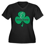 Ireland Shamrock Women's Plus Size V-Neck Dark T-S