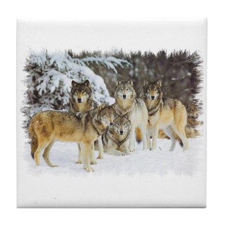 """""""Wolf Pack"""" Tile Coaster"""