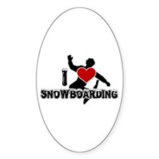 I Love Snowboarding! Oval Decal