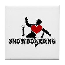 I Love Snowboarding! Tile Coaster