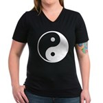 Yin-Yang Women's V-Neck Dark T-Shirt