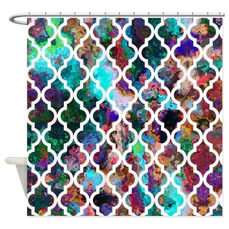 Oil painting moroccan pattern shower curtain by colors and for Oil painting patterns