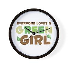 Loves A Green Girl Wall Clock