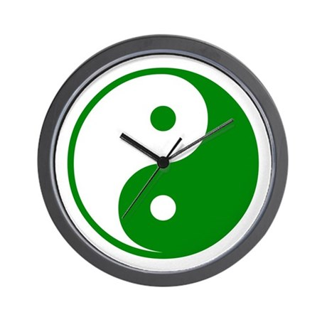 Green Yin-Yang Wall Clock