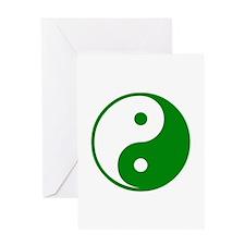 Green Yin-Yang Greeting Card