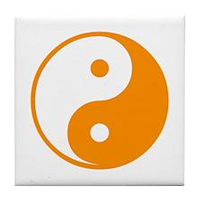 Orange Yin-Yang Tile Coaster