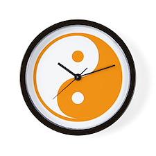 Orange Yin-Yang Wall Clock