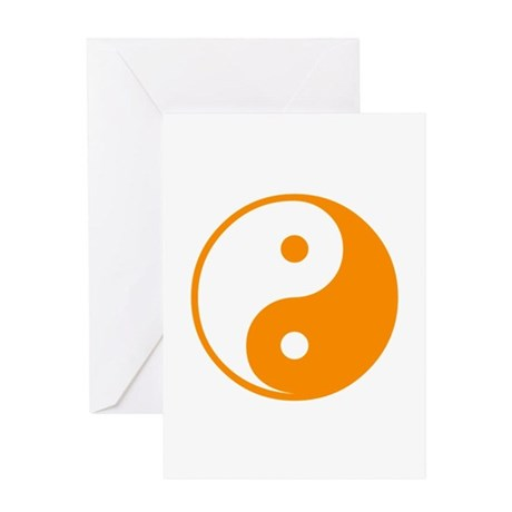 Orange Yin-Yang Greeting Card