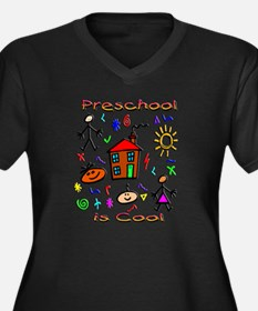 Preschool Is Cool Women's Plus Size V-Neck Dark T-