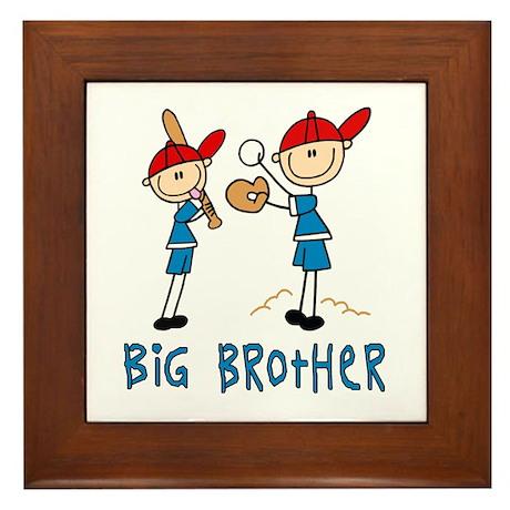 Stick Baseball Big Brother Framed Tile