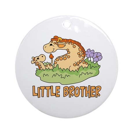 Two Giraffes Little Brother Ornament (Round)