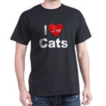 I Love Cats for Cat Lovers (Front)  Black T-Shirt