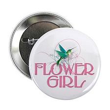 """Hummingbird Flower Girl 2.25"""" Button"""