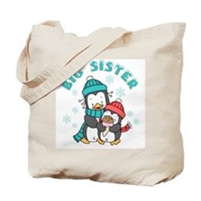 Cute Penguins Big Sister Tote Bag