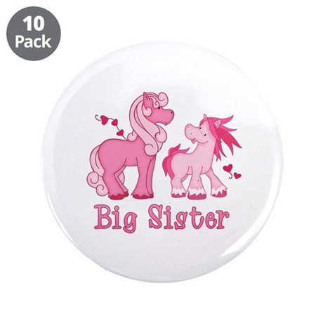 """Pink Ponys Big Sister 3.5"""" Button (10 pack)"""