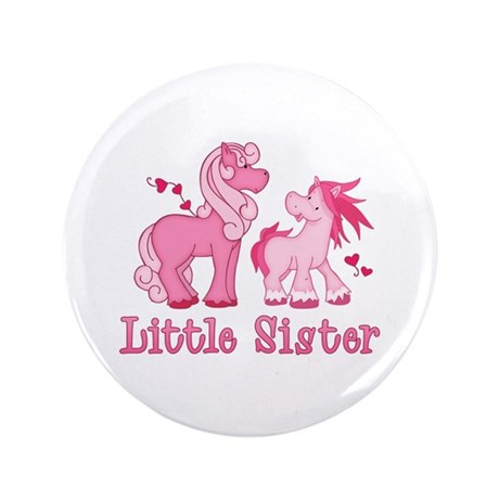 "Pink Ponys Little Sister 3.5"" Button (100 pack)"