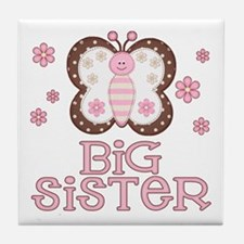 Pink Butterfly Big Sister Tile Coaster