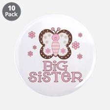 "Pink Butterfly Big Sister 3.5"" Button (10 pack)"