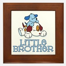 Cute Puppys Little Brother Framed Tile