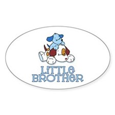 Cute Puppys Little Brother Oval Bumper Stickers