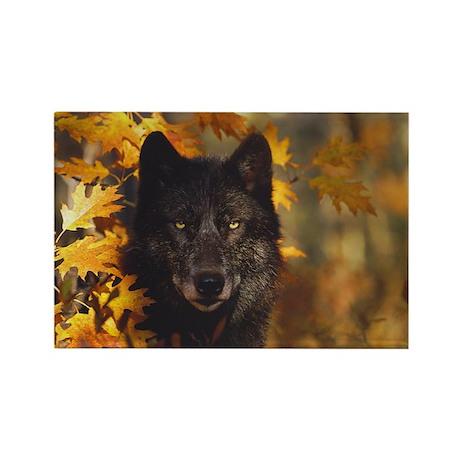 """Black Wolf"" Rectangle Magnet"