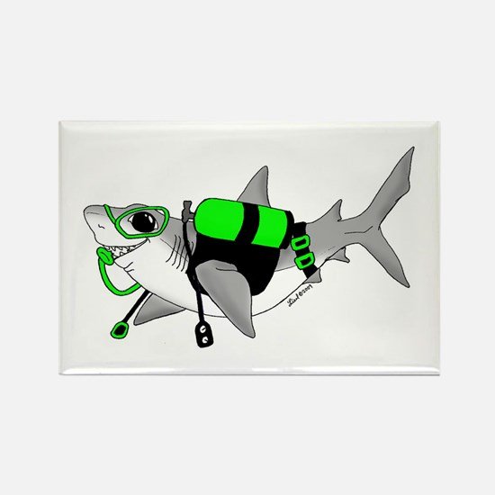 Shark Dive Rectangle Magnet