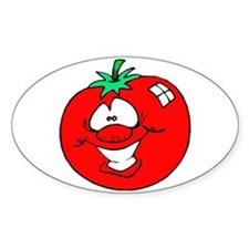 Happy Tomato Face Oval Decal