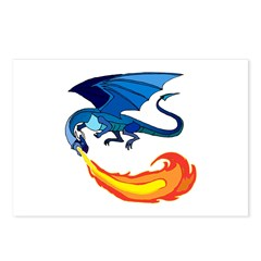Blue Fire-Breathing Dragon Postcards (Package of 8