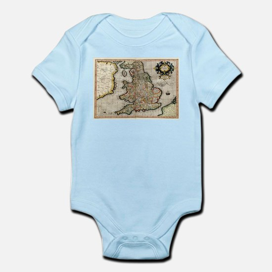 Vintage Map of England (1596) Body Suit