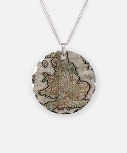 Vintage Map of England (1596 Necklace