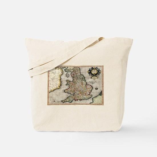 Vintage Map of England (1596) Tote Bag