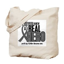 Never Knew A Hero 2 Grey Ribbon Father Tote Bag