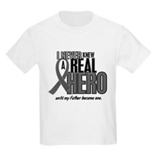 Never Knew A Hero 2 Grey Ribbon Father T-Shirt