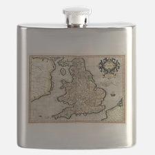 Vintage Map of England (1596) Flask