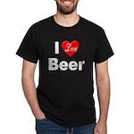 I Love Beer for Beer (Front) Black T-Shirt