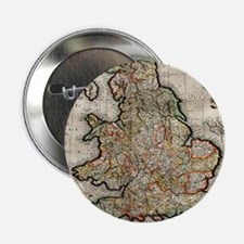 """Vintage Map of England (1596) 2.25"""" Button"""
