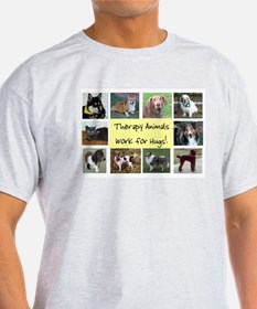 Therapy Animals Work For Hugs Ash Grey T-Shirt