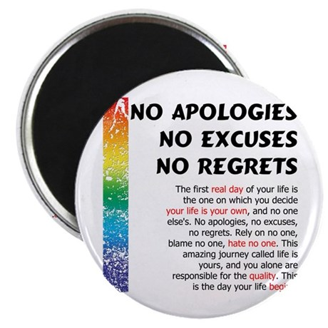 """No Apologies 2.25"""" Magnet (100 pack)"""