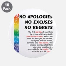 """No Apologies 3.5"""" Button (10 pack)"""