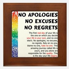 No Apologies Framed Tile