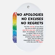 No Apologies Oval Ornament
