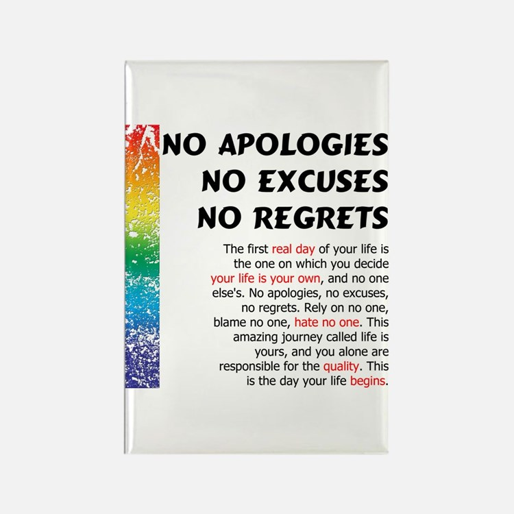 No Apologies Rectangle Magnet