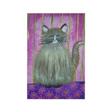 Brown Cat in Pink Room Rectangle Magnet