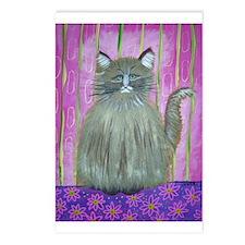 Brown Cat in Pink Room Postcards (Package of 8)