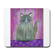 Brown Cat in Pink Room Mousepad
