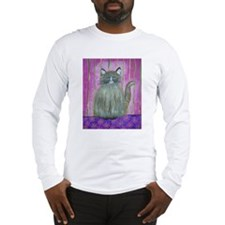 Brown Cat in Pink Room Long Sleeve T-Shirt